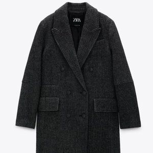 "NWT Zara ""Only One"" Wool Blend Menswear Coat, L"
